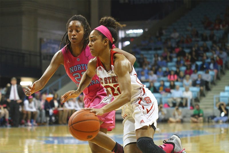 Senior guard N'Dea Bryant (22) defends Dominique  Wilson (right) during the game against NC State on Sunday.