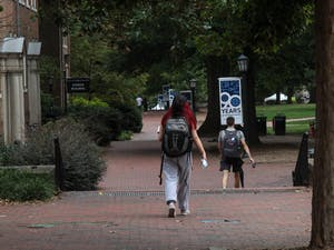 UNC Students walk on campus on Oct. 8 2021.