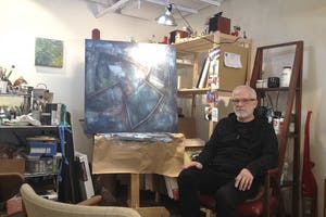 Paul Hrusovsky is selling artwork in Crook's Corner without minimum prices. The proceeds will go to the Inter-Faith Council for Social Service.