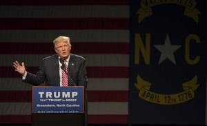 Republican presidential candidate Donald Trump speaks in the Greensboro Coliseum on Tuesday, June 14th.