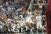 PJ Hairston and Reggie Bullock celebrate after a 3-pointer by Hairston. Hairston scored a game high 21 points and was an effective 5-for-6 from beyond the arc.