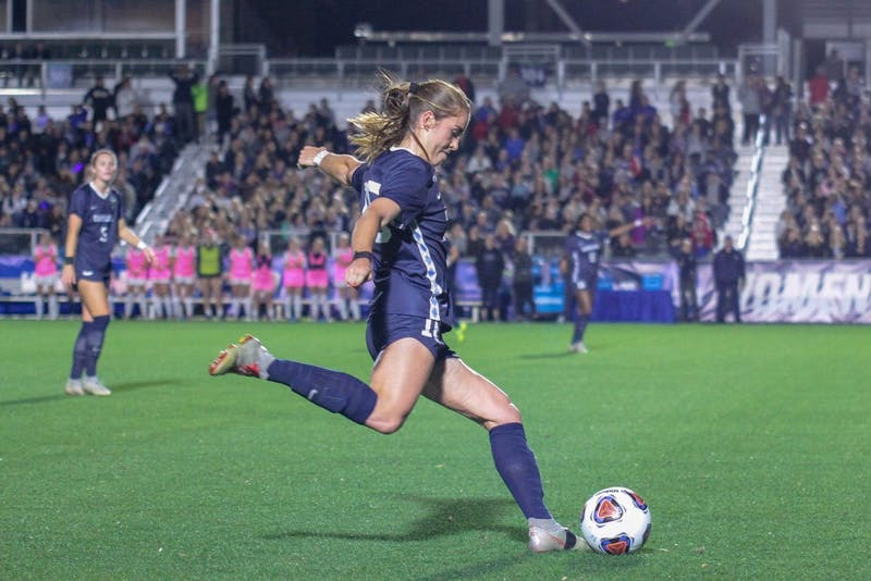 Defender Julia Ashley (16) moves to shoot the ball during UNC's match against Georgetown in the Women's College Cup semifinals on Friday, Nov. 30 2018 at Sahlen's Stadium at WakeMed Soccer Park in Cary. UNC won 1-0.