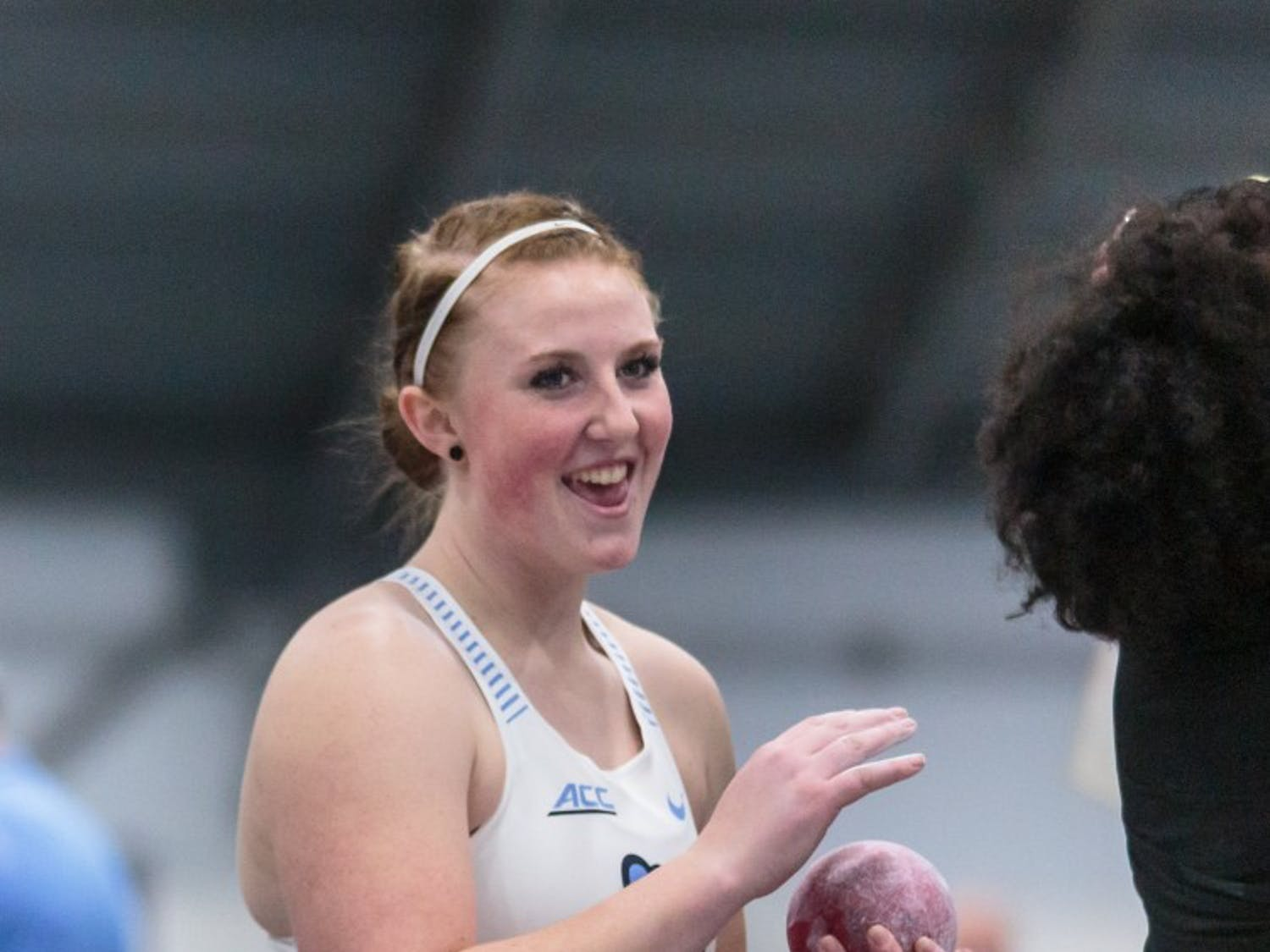 First-year Emily Malone prepares to compete in the shot-put event at the Dick Taylor Carolina Cup in the Eddie Smith Field House on Saturday, Jan. 12 2019.
