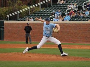 Rodney Hutchinson Jr. (48) pitches against East Carolina on Feb. 25 at Boshamer Stadium.