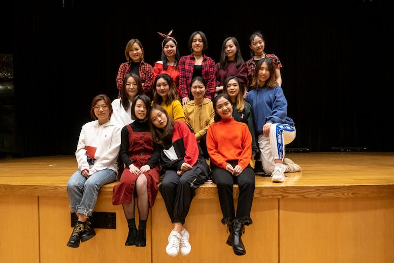 UNC Unicorn K-Pop Dance Cover Team members Sharon Ge, Serena Gao, Haoyu Zhang, Zoey Zhou, Becca Liu, Cicie Li, Ann Cui, Vivi Wang, Xi Jin, Xinyu Xu, Cyan Bai, Kelly Wan, Zhizhi Li and Alexandra Wang pose for a photograph following their first public performance at KoreaNite 2019 on Feb. 17, 2019 at the Great Hall in the Carolina Union in Chapel Hill, N.C. The UNC Unicorn K-Pop Dance Cover Team, a new dance group on UNC's campus, will be hosting their first workshop on March 1, 2019 at 7:00pm at the Student Recreation Center in Studio A.   Photo courtesy of Christine Chen.