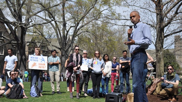 Duke alum Kevin Primus speaks at the Light Rail Rally in front of the Allen Building on Duke's campus on Friday, March 29, 2019.