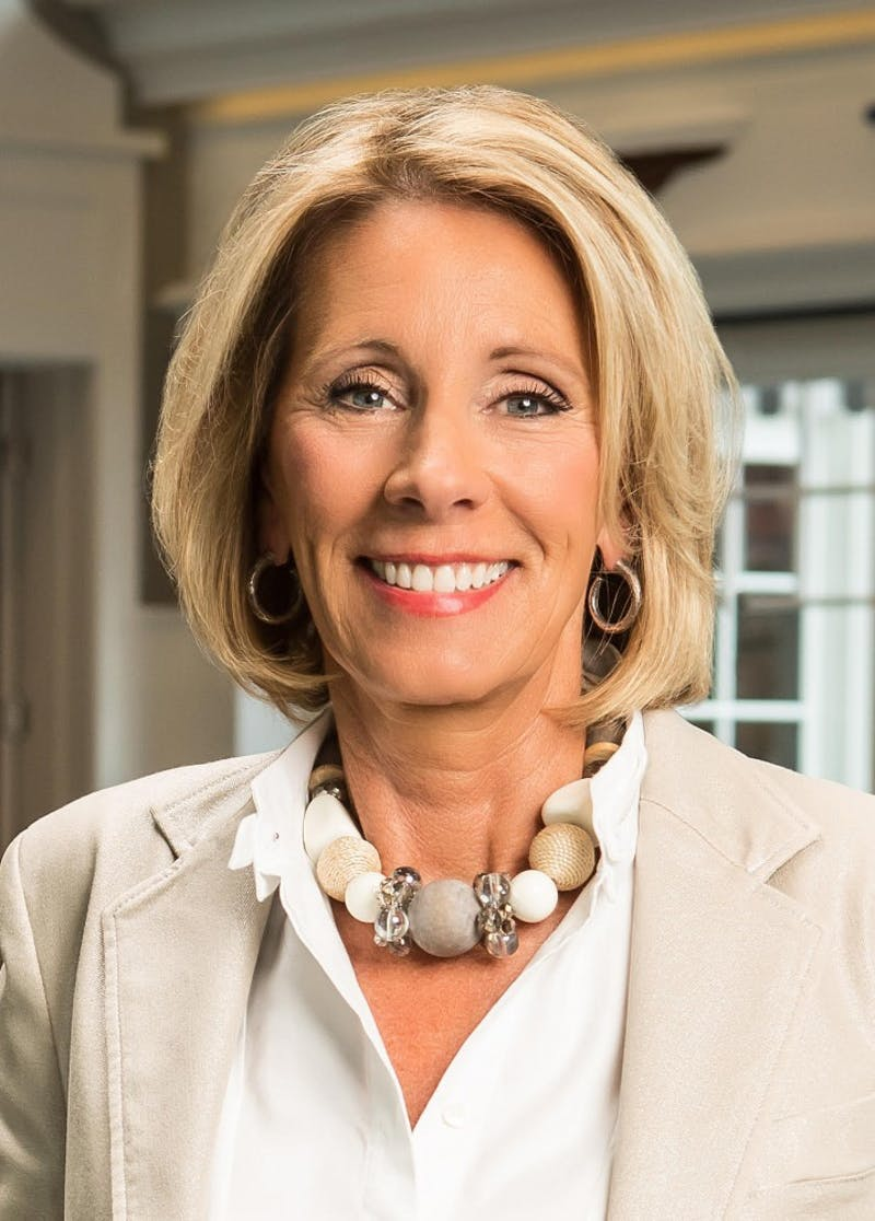 Betsy DeVos, the U.S. Secretary of Education under President Donald Trump, is an advocate for school choice policies. Photo courtesy of Betsy DeVos. Photo courtesy of Brian Kelly.