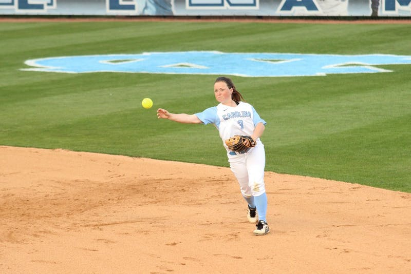 No. 3 Erin Satterfield (SS) throws to first during the double header showdown UNC vs. Nortre Dame on Wednesday.