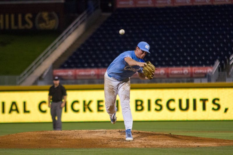 Carolina junior Cooper Criswell (41) throws a pitch during UNC's ACC tournament loss to Pittsburgh on May 23.