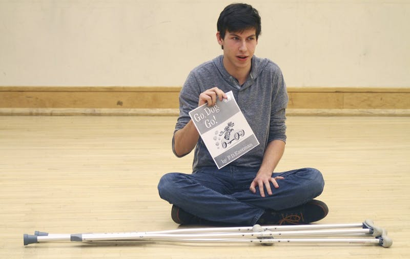 """William Booker, freshman Psychology and Spanish double major, auditions for Modern Shakespeare Society's 30 plays in 60 minutes. """"It's good to be nervous. It tells you that you actually care about what you're trying out for,"""" said Booker."""