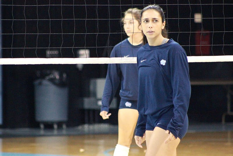 Ece Taner, a senior varsity  member of the Carolina Volleyball team, pictured on Tuesday evening in Carmichael Arena.