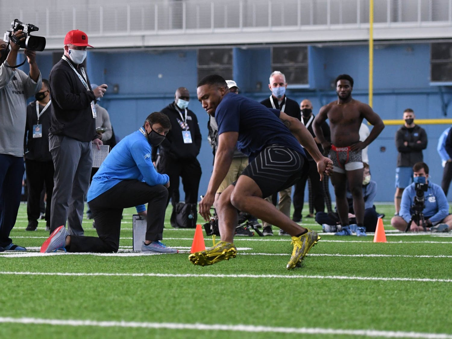 Jordan Brown prepares to drill during University of North Carolina Football Pro Day at Indoor Practice Facility on Monday, March 29, 2021. Photo courtesy of Jeff Camarati.