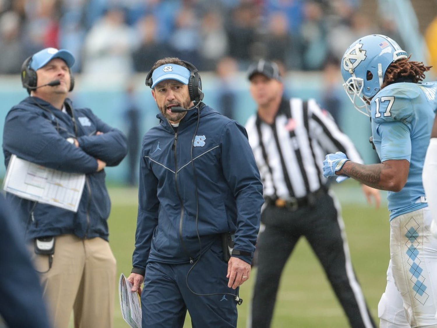Larry Fedora coaches during the 34-28 loss to NC State on Saturday, Nov. 24, 2018 in Kenan Memorial Stadium.