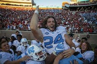 Nick Weiler celebrates with a tomahawk chop after his game-winning kick at Florida State on October 1, 2016.