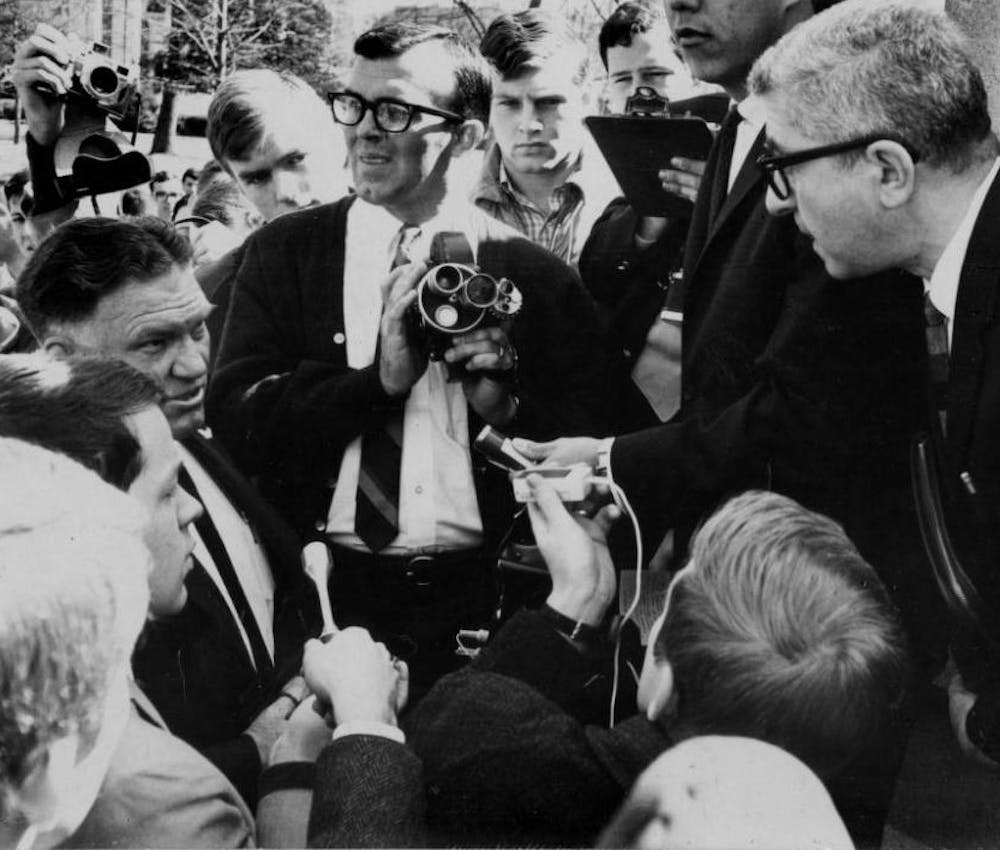 <p>Herbert Aptheker, a member of the Communist party, delivers an anti-Vietnam lecture on Franklin Street under the speaker ban on March 9, 1966.</p>