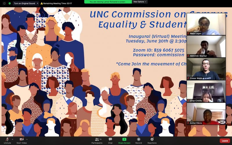 The Commission on Campus Equality met virtually on Tuesday, June 30, 2020 to discuss how to address race inequality and minority representation at UNC.
