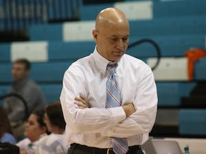 UNC volleyball head coach Joe Sagula looks on in frustration during his team's 3-0 loss to Virginia on Oct. 14.
