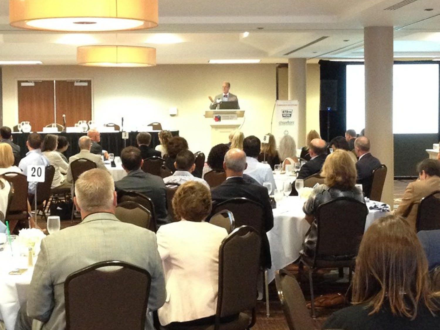 People gather to hear about recent growth anddevelopment in Orange County at the Spaces and Places meeting Thursday.