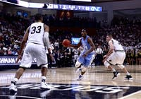UNC shooting guard Kenny Williams (24) drives toward the basket in the first game of the season. UNC won 78-67 against Wofford in the Richardson Indoor Stadium, Spartanburg, SC on Nov. 6, 2018.