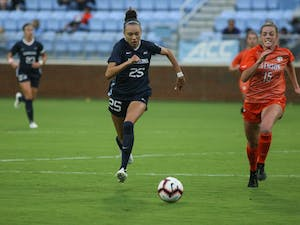 Freshman defender Maycee Bell (25), runs downfield during the game against Clemson at Dorrance Field on Saturday, Oct. 5, 2019. UNC won the game 1-0.