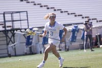 First-year attacker Jamie Ortega (3) advances the ball against Notre Dame on March 31, 2018 in Kenan Stadium.