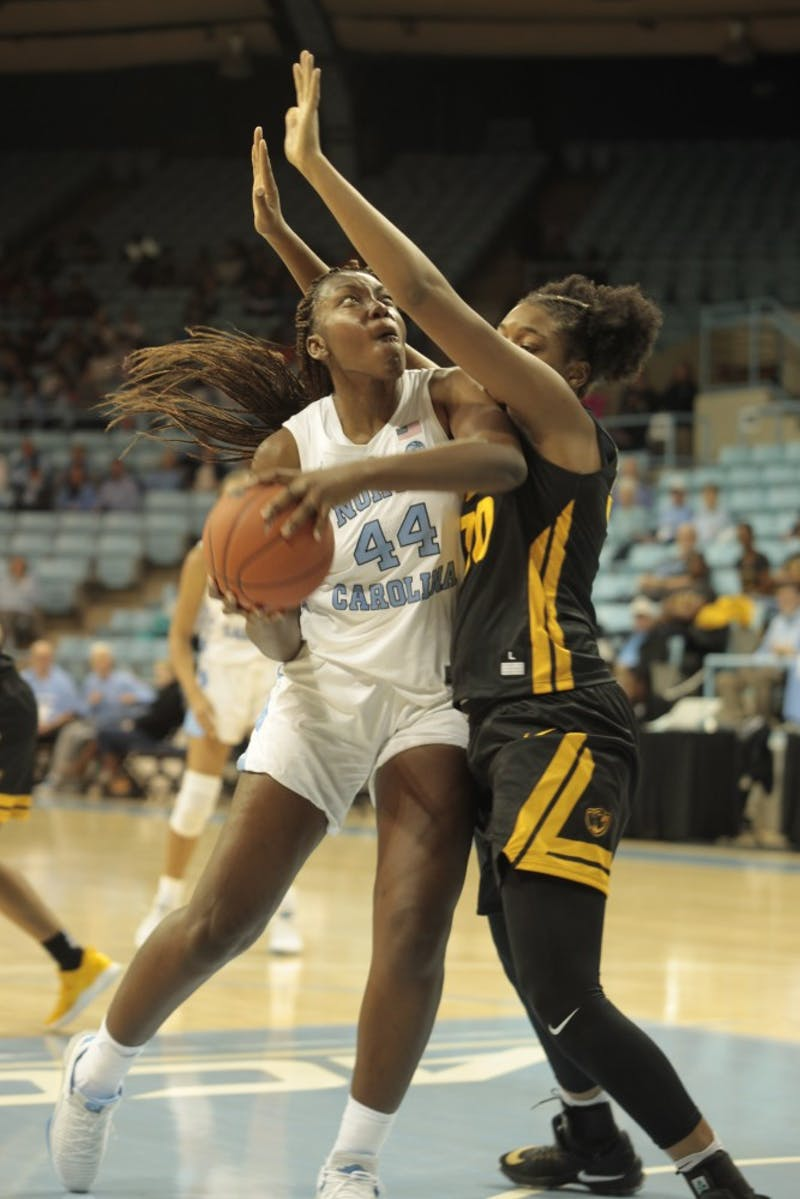 UNC sophomore forward Janelle Bailey (44) gets ready to take a shot in UNC's 59-47 win over VCU on Nov. 14 at Carmichael Arena.