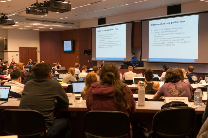 Treasurer of the Graduate and Professional Student Federation at UNC, Ryan Collins, gives an update on treasury-related matters, including information on graduate student fees, at the Graduate Student Senate meeting on Tuesday, Nov. 5, 2019 in Kerr Hall.