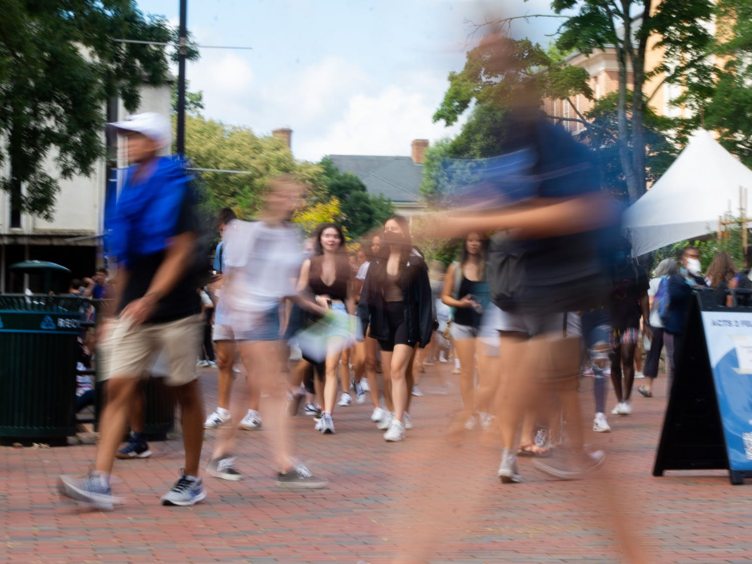 Students return to campus for the first day of classes, Aug. 18.