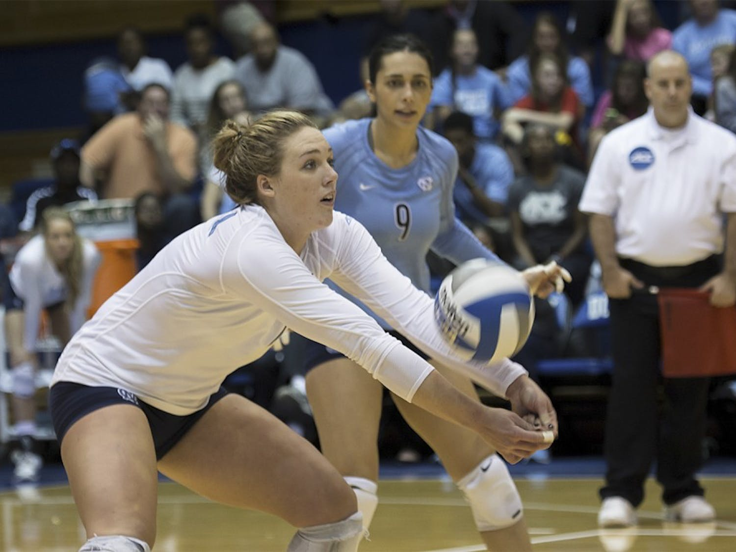 UNC outside hitter Leigh Andrew (4) makes a pass during Sunday's 3-0 win against Duke at Cameron Indoor Stadium.
