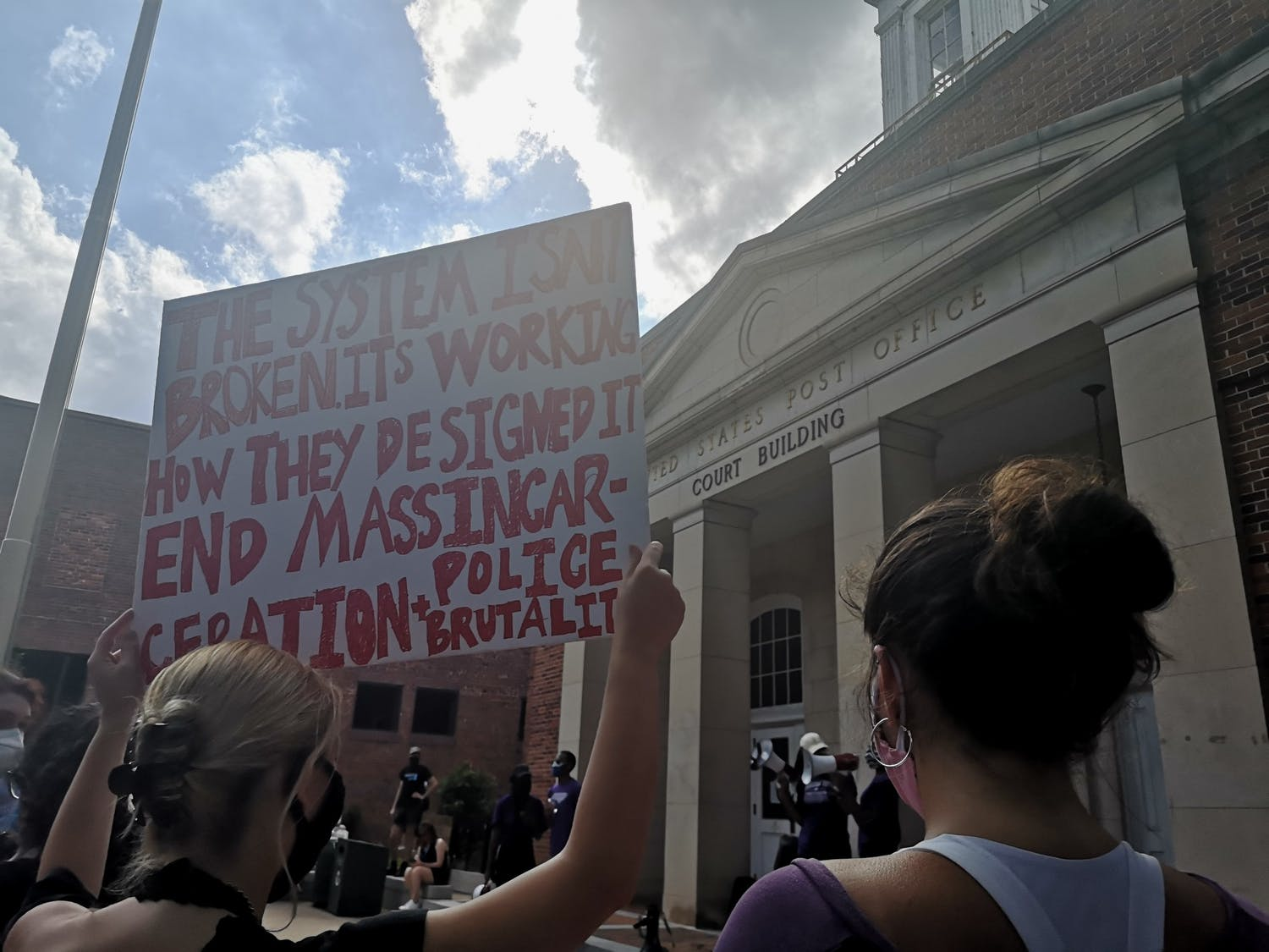 Protestors gather outside the Peace and Justice Plaza on Friday, June 5, 2020 to protest against police brutality after the recent deaths of George Floyd, Breonna Taylor, Ahmaud Arbery, and other Black Americans.