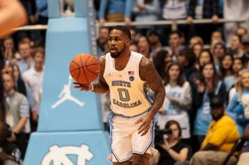 UNC guard Seventh Woods (0) dribbles the ball down the court during the home men's basketball game against Notre Dame in the Smith Center on Tuesday, Jan. 15, 2019. In his 18 minutes of play, Woods scored 4 points, contributing to the final score of 75-69.