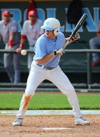 Junior Chaz Frank pulls back his bat at a called ball in Carolina's 3-1 loss to NC State at Boshamer Stadium in Chapel Hill Saturday, March 24th.