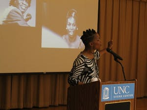 Nnenna Freelon, a Grammy-nominated jazz artist and educator, delivers the Sonya Haynes Stone Memorial Lecture on Oct. 2, 2018 in Sonya Haynes Stone Center. This lecture was a part of the Stone Center's 30th anniversary programming.