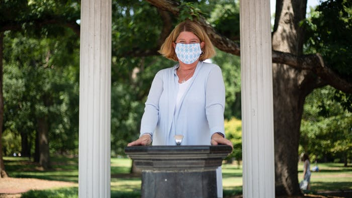 Chapel Hill Mayor Pam Hemminger poses for a portrait at the Old Well on Thursday, Aug. 12, 2021.
