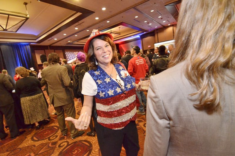 Donna Williams of Raleigh shows off her GOP pride