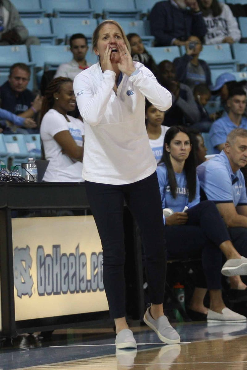 Head Coach Courtney Banghart yells at the court during exhibiton game against Wingate in the Charmichael Arena on Saturday, Nov. 2, 2019. UNC won 82-37.