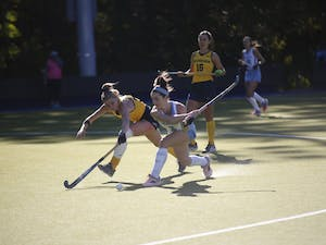 Freshman forward Erin Matson (1) shoots the ball against Michigan during the second round of the NCAA Tournament at Karen Shelton Stadium on Monday. Matson is a member of the U.S. National Team and played at the 2018 Hockey World Cup.