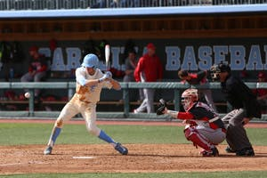 Brian Miller hits the ball during UNC's victory over Fairfield.
