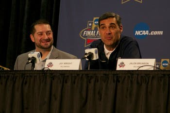 Villanova head coach Jay Wright answers questions about his coaching during a press conference on Sunday.