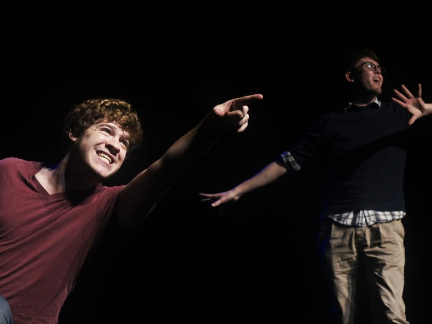 [title of show], the name of the play about two guys writing a play about two guys writing a play, is opening tomorrow.  Pictured are Will Hawking and Jake Springfield.