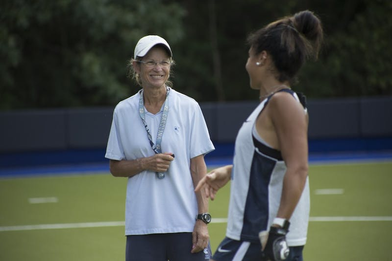 Karen Shelton, head coach of UNC's field hockey program, has led the team to six NCAA Championships since becoming head coach in 1981. She has been named National Coach of the Year five times and was inducted into the USA Field Hockey Hall of Fame in 1989.