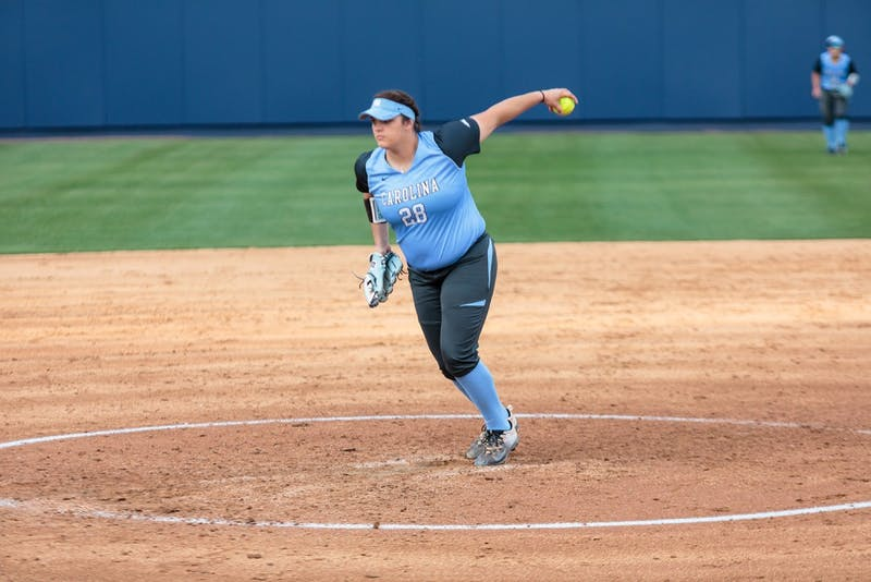 First year Brittany Pickett (28) pitches during UNC softball's 1-0 win over USC Upstate on Wednesday.