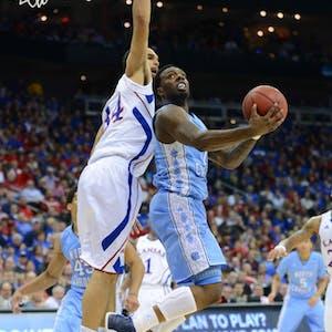 Former North Carolina guard P.J. Hairston (15) takes a shot during the 2012-2013 season.