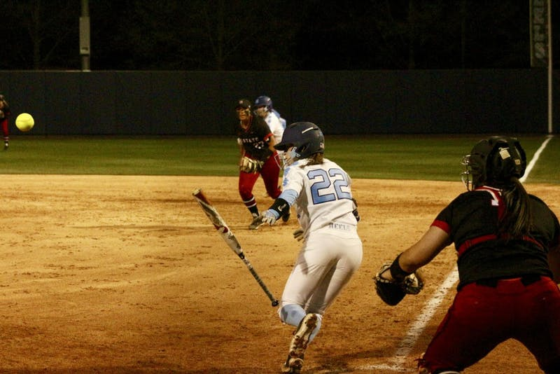 Junior Destiny DeBerry (22) bunts against N.C. State on April 16 in Anderson Stadium.