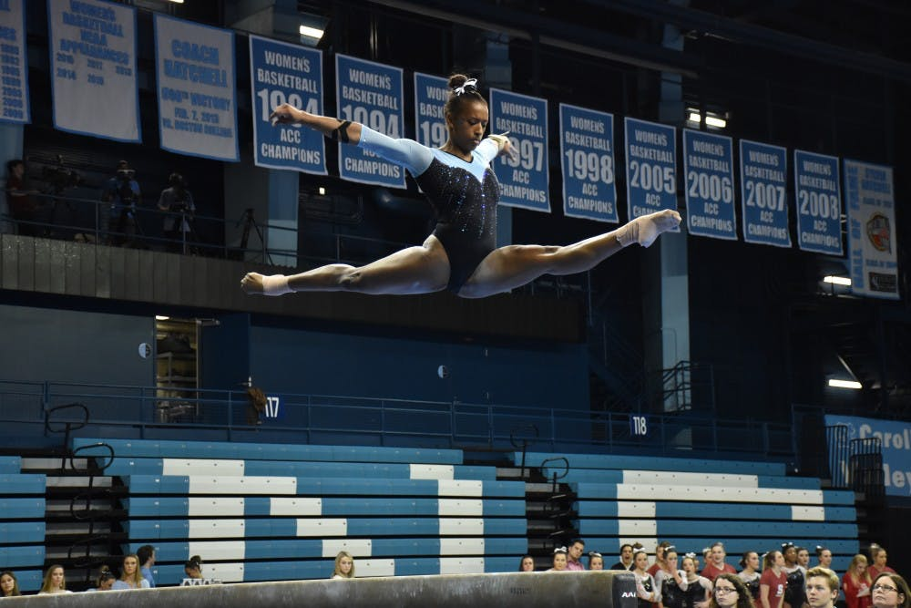 UNC gymnastics drops first meet to N.C. State, Khazia Hislop stars