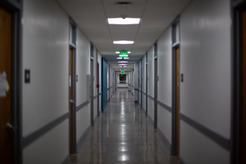 The halls of Joyner Residence Hall are empty on Sunday, Oct. 25, 2020.