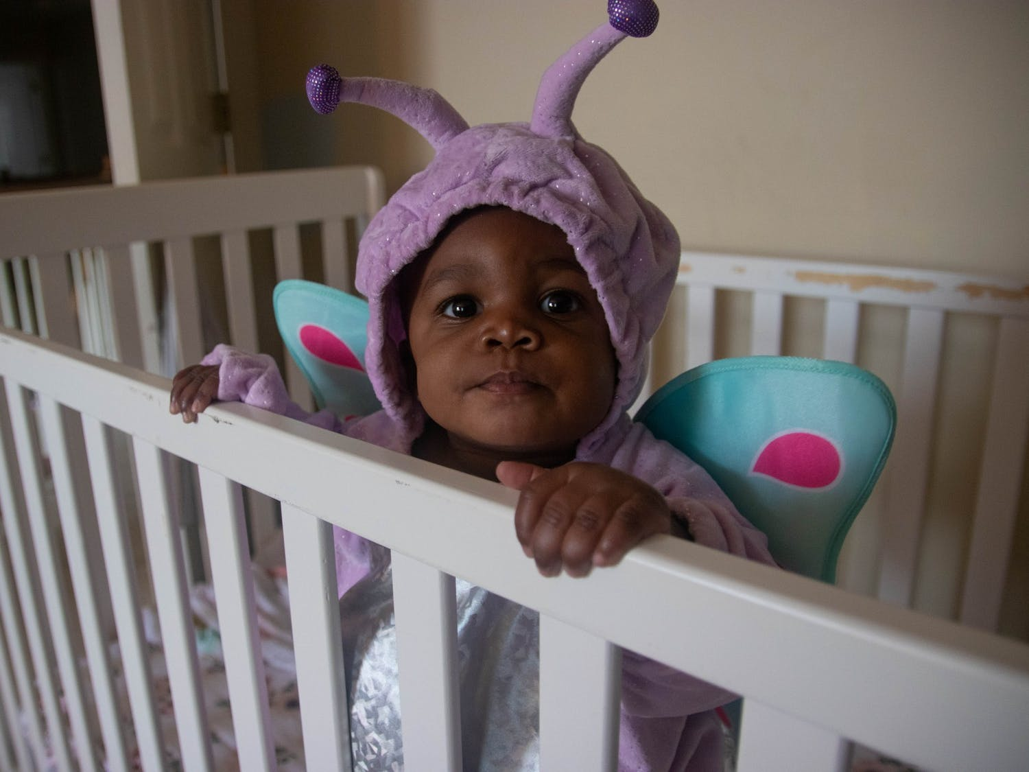 Addison Wright, 7 months old, prepares to spend her first Halloween ever at her grandparents home in Raleigh, NC on Oct. 27, 2020.