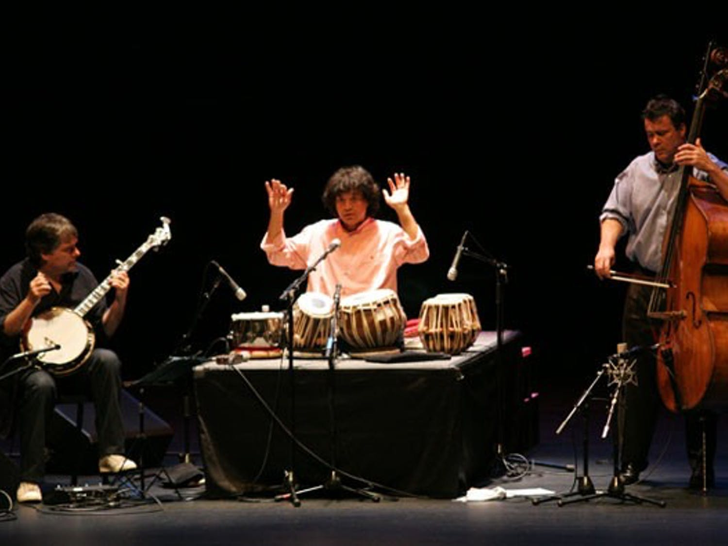 Banjoist Béla Fleck,  tabla player Zakir Hussain and double bassist Edgar Meyer play Sunday in Memorial Hall DTH/Chessa Rich