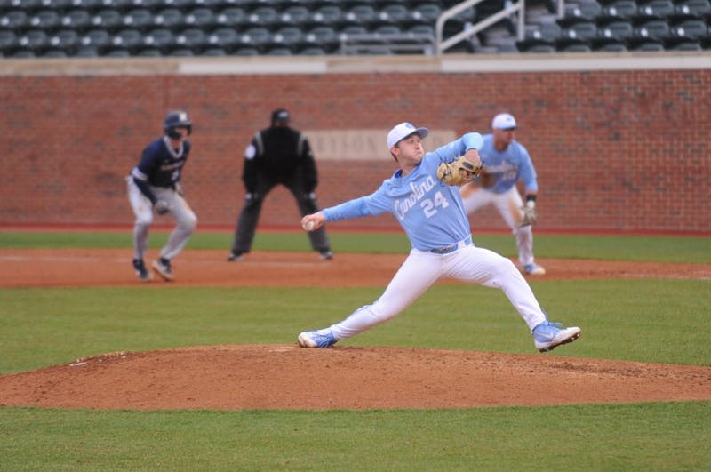 Hansen Butler (24) pitches during the game against Xavier in Boshamer Stadium on Sunday, Feb. 17, 2019. UNC won 14-3.