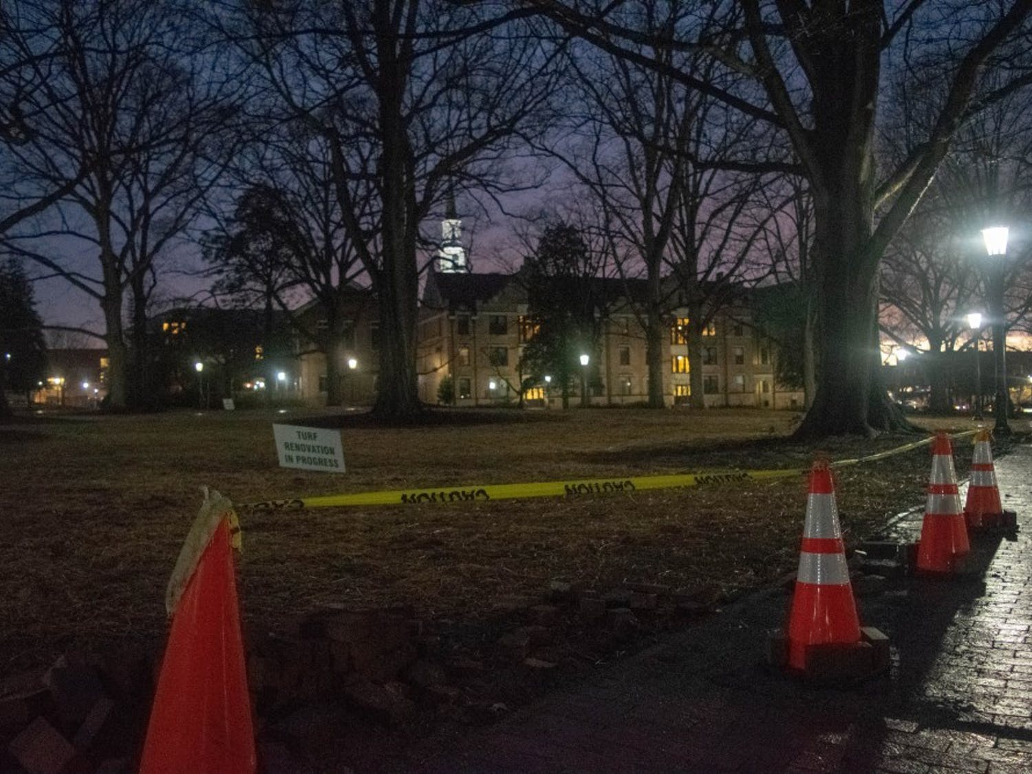 McCorkle Place, the former site of Silent Sam, on Tuesday, Jan. 29, 2019. Silent Sam is a Confederate statue whose presence on campus faced heated opposition in the form of protests and demonstrations. It was eventually forcibly removed by protestors. A number of protestors who opposed the statue have received trespass notices. Many activists believe these notices may be an attempt to silence them due to difficulty in appealing the notices.